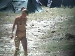 Hidden camera on nudist camping