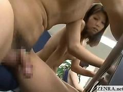 Nudist Japan office lady public handjob and blowjob