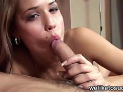 Satin bloom gives head and swallows cum