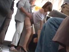 Mature Asian surprised with a big cock from behind in the train