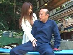 Gorgeous Asian doctor gropes an old man