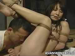 Tied up Japanese hottie fucked with a machine