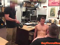 Gay pawnshop spycam action with straight jock