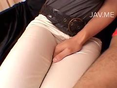 Asian femdoms in tight jeans dominate loser