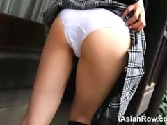 Asian Schoolgirl Shows Her White Panties