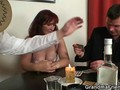 Old redhead loses strip poker and starts a threesome