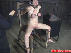 Bonded sub whipped in dungeon