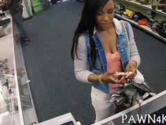 Ebony hottie gets her pussy split apart for pawn shop cash