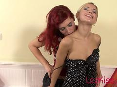 Redhead making passionate love to blonde girlfriend