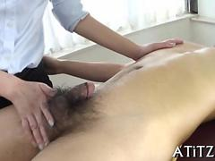 Asian chick plays with a dudes little hairy dick
