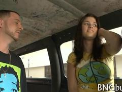 Cute teen with big tits fucked in the bang bus