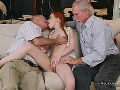 Redhead Teen Dolly Little Gets Fondled By Rich Old Men