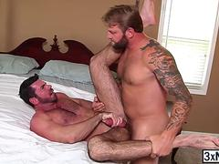 Hairy dude Billy Santoro fucked Colby Jansen ass before his wife return