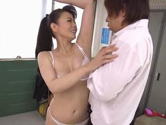taking her costume off and the Asian slut dances halfnaked