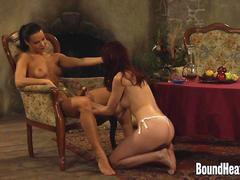 Mistress With Golden Strapon And Two Naked Slaves