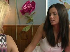 Older woman Payton Leigh playing with Whitney Westgate