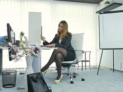 Office masturbation in stockings