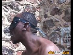 African slave girl gets abused by master outdoors