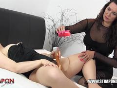 Strapon Jane spanks milf sluts pussy while she toys then face fucks and hard missionary sex