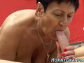 Granny desires to get screwed by this stud with enormous cock in several poses but first she gives him a head