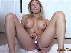 Fitness girl cum in live webcam