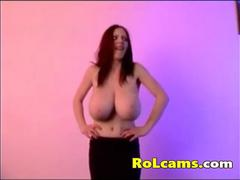 Bouncing natural beautiful tits