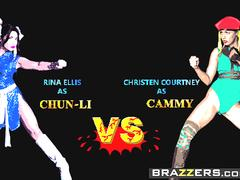 Brazzers - Hot And Mean - Christen Courtney and Rina Ellis - Sex Fighter Chun Li vs Cammy