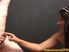 Uk CFNM femdom jerks cock after giving joi
