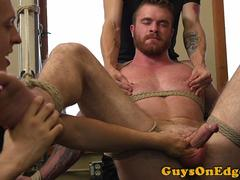 Muscle bdsm sub restrained for anal toying