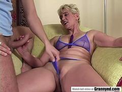 Grandma cums on young cock