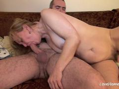 Hairy slut with big tits loves having sex
