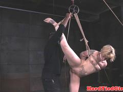 Inked bdsm sub tiedup and pussyslapped by dom