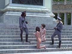 Gorgeous pet slaves naked disgraced in public