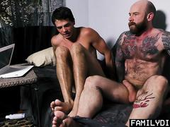 FamilyDick - Step dad and jock son fuck and suck each other on webcam