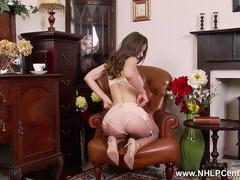 Brunette Stella Cox plays with big natural tits and pussy in retro nylons and lingerie