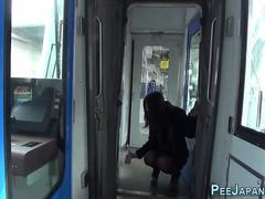 Asian pees public train