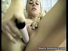 Busty amateur babe Dolly toying her pussy