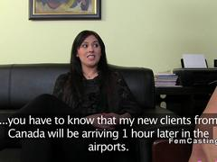 Huge tits female agent watches sex