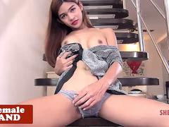 Solo ladyboy beauty spreads ass and jerksoff