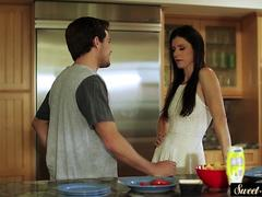 Stunning stepmom fucked in the kitchen