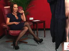 CFNM babe humiliates dude while giving JOI