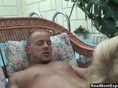 Blonde mature slut jizzed all over her tits