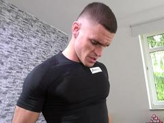 Fitness Rooms Sexy Spanish brunette covered in cum after workout fucking