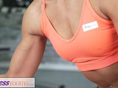 Fitness Rooms Sporty athletic babe fucks young leotard cutie in the gym