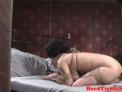 Hardfucked sub slave bound and pounded