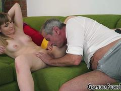 Teen sucks old tiny cock