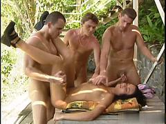 Jeanette Marton gets to bang not two but three handsome and muscular younger