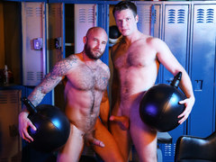 Muscular gays having fun