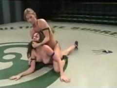 Lesbian catfight and strapon dildo fucking