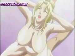 Anime blonde pleasuring a cock with her tits